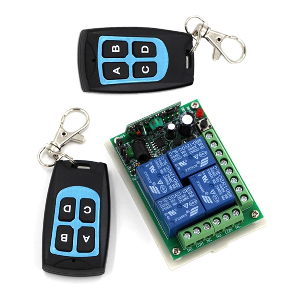 Relais sans fil 24V cc 4CH 10A   Interrupteur de télécommande récepteur émetteur 315/433 étanche, connecteur daccès normalement ouvert/fermé à porte