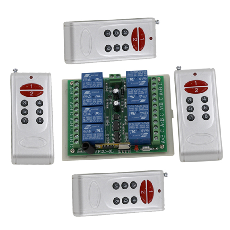 DC12V 8CH remote control switch,RF control Toggle,1 receiver + 4 RF transmitter Free shipping 3063 dc12v remote control switch rf control toggle latch 8ch receiver transmitter kits free shipping
