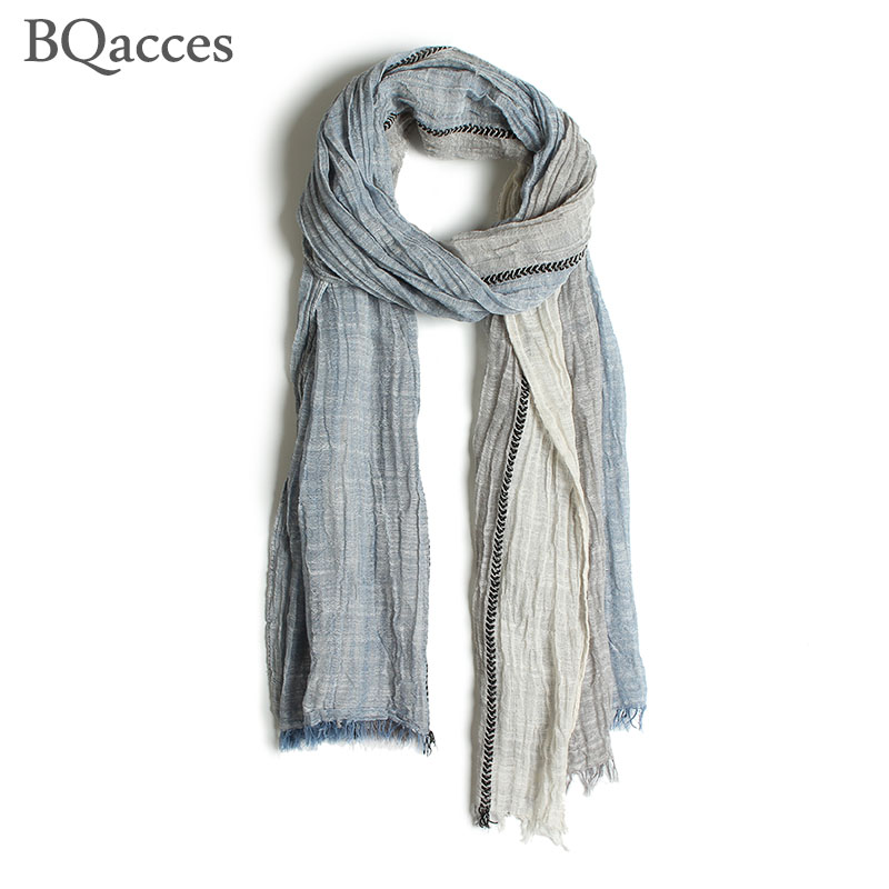 Cotton Linen Thin Scarf Shawl Lightweight Striped Summer Scarves For Women G