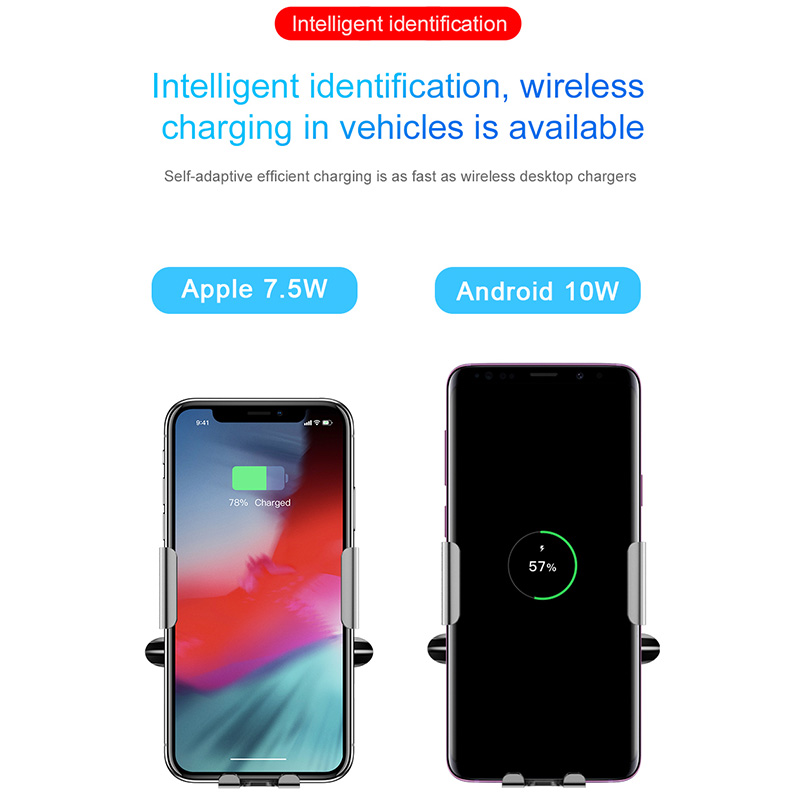 Image 5 - Baseus Infrared Wireless Car Charger For iPhone XS XR Samsung S9 Fast QI Wireless Charger Air Vent Mount Car Phone Holder StandCar Chargers   -