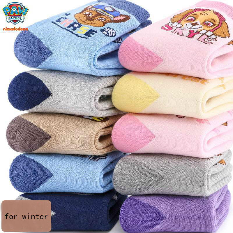 10pcs=5pairs Genuine Paw Patrol 2019 winter Thick socks Kids Cute Boy Girl cotton sock Children Birthday gift Toy High Quality