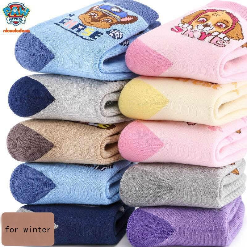 10pcs=5pairs Genuine Paw Patrol 2019 Winter Thick Socks Kids Cute Boy Girl Cotton Sock Children Birthday Gift Toy High Quality