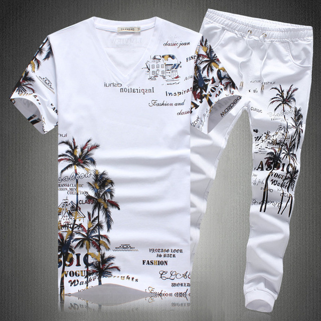 2019 New Summer Beach Shorts Sets Men Casual Coconut Island Printing Suits Mens Clothing Suit Male Sets T Shirt +Pants 5XL 1