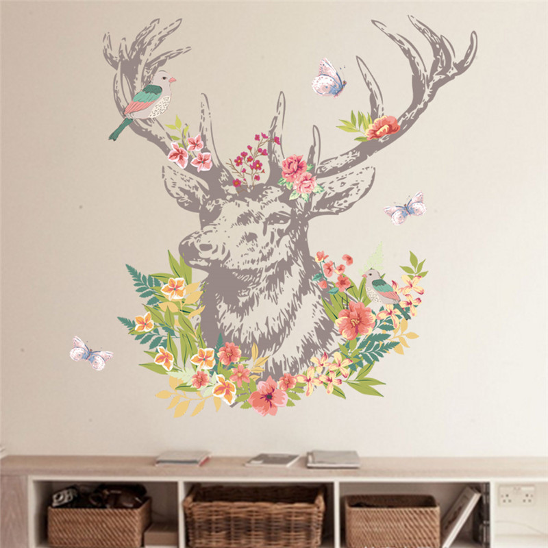 colorful vintage living room apartment wall art | Vintage Colorful Flower Deer Bird Walls Stickers Living ...