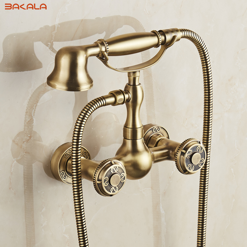 2017 bakala Free shipping Bathroom Bath Wall Mounted Carving Hand Held Antique Brass Shower Head Kit Shower Faucet Sets BR-10853
