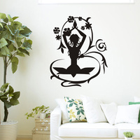 Keep Calm And Meditate Quote Yoga Lotus Pose Wall Sticker Vinyl Art Removable Home Decor For
