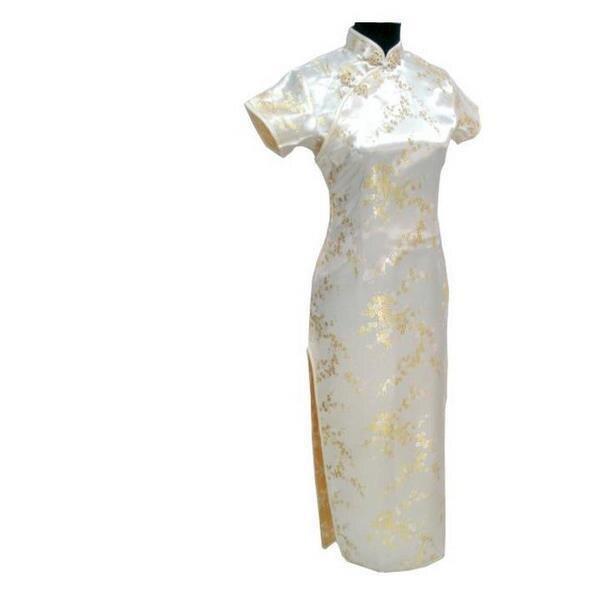 Новинка, длинное атласное женское платье чонсам, элегантное тонкое платье с высоким разрезом, традиционное платье ручной работы с пуговицами и цветами, Qipao, с коротким рукавом, Vestidos - Цвет: Flower 6