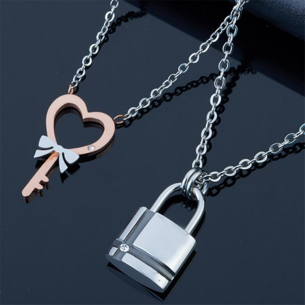 ffa8017c33 (12 pcs/lot) Titanium Jewelry Stainless Steel Jewelry Titanium Couple  Necklaces Lock and Key Necklace Come With Chain