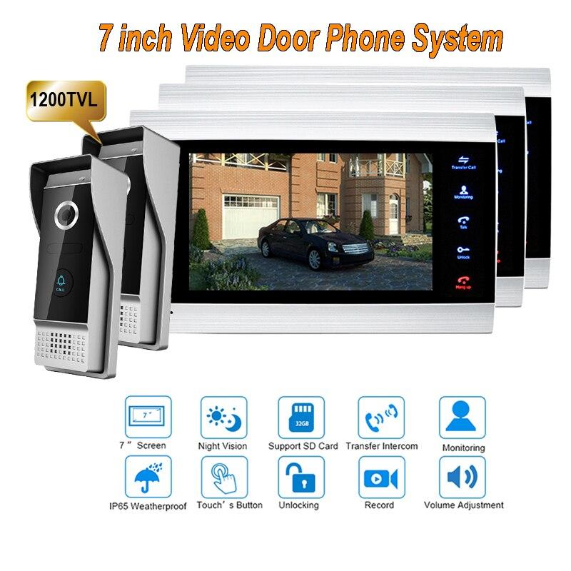 New 7 Inch 1200TVL Video Intercom System Door Phone Doorbell With  IP65 Wide Angle 110 Degree Camera DoorPhone 2v3