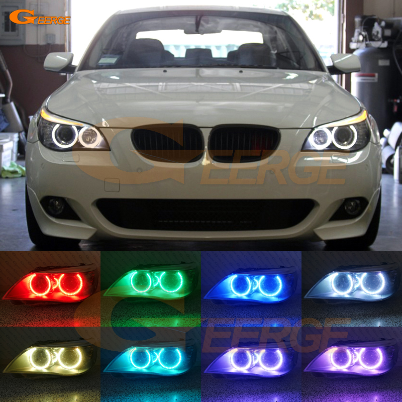 For BMW E60 E61 LCI 525i 528i 530i 535i 545i 550i M5 XENON HEADLIGHT Excellent Multi-Color Ultra bright RGB LED Angel Eyes kit for bmw 5 series e60 e61 lci 525i 528i 530i 545i 550i m5 2007 2010 xenon headlight dtm style ultra bright led angel eyes kit page 1
