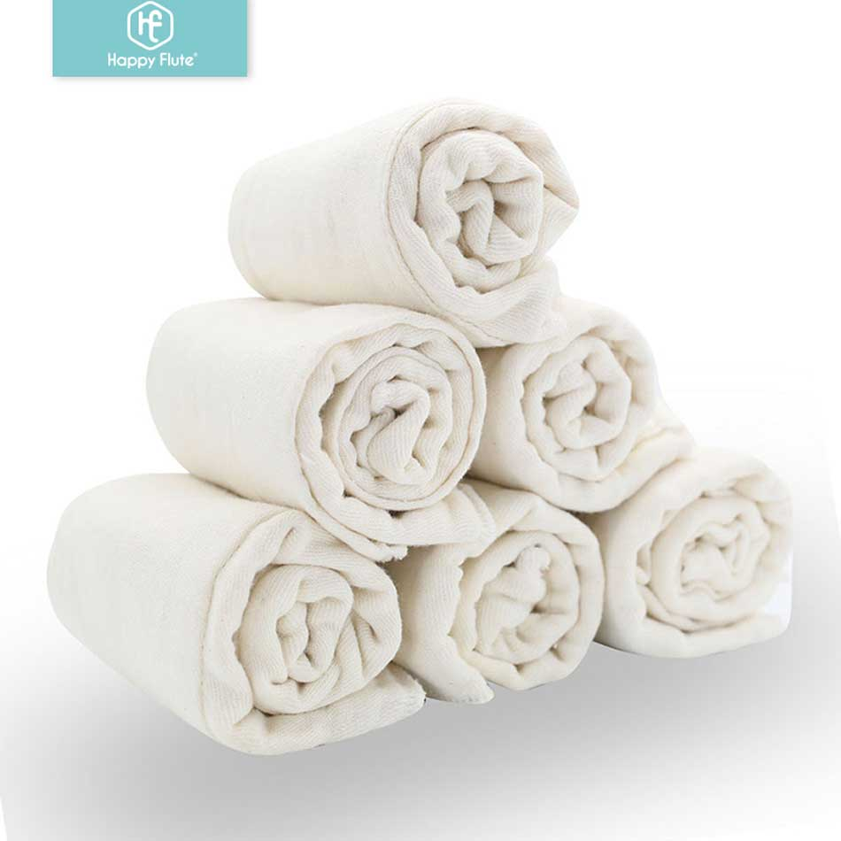 Happy Flute 6pieces/lot 100% Soft Unbleached Cotton For Softness And Fast Absorbency Baby Prefold Cloth Diaper Insert