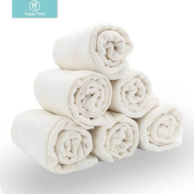 Happy Flute – Tissu en coton doux, à pré pli, de couche culotte pour bébé, 100% non blanchi pour douceur et absorption rapide, 6 pièces/lot