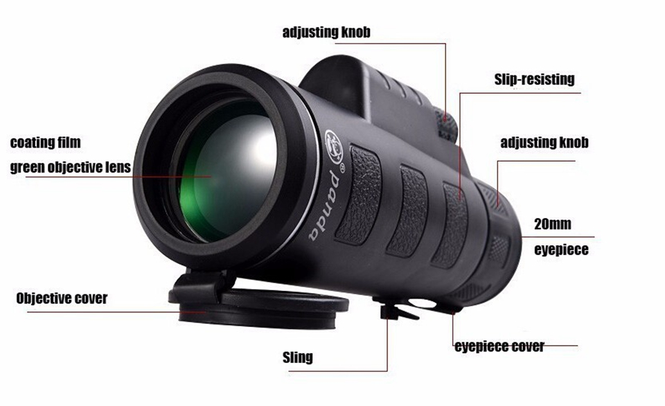 35x50 monocular prism hd wide angle central zoom portable monocular