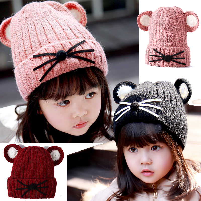1e430a53ac3 6 Colors Cute Korean Cute Cartoon Cow Baby Girls Toddler Kids Autumn Winter  Knitted Crochet Cat Beanie Cap Hat Hair Headwear