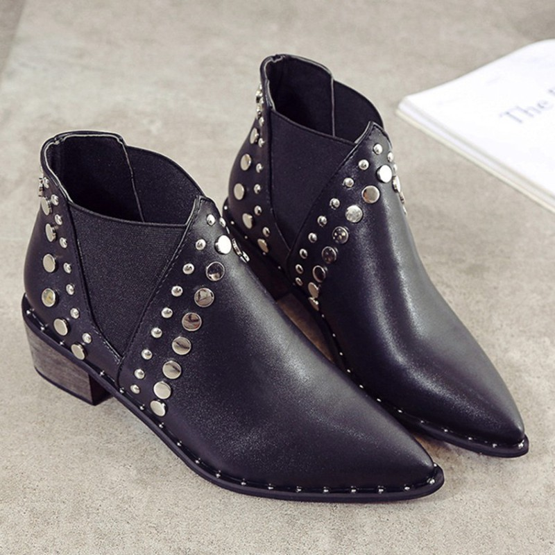 Image 4 - Cuculus PU Leather Ankle Boots For Women 2020 Autumn New Rivet Pointed Toe Rubber Shoes Black Wedges Boots Women 35 39 1423Ankle Boots   -