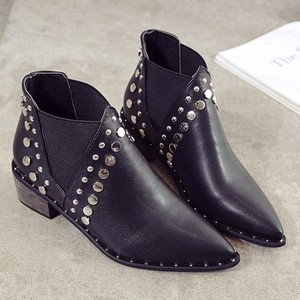 Image 4 - Cuculus PU Leather Ankle Boots For Women 2020 Autumn New Rivet Pointed Toe Rubber Shoes Black Wedges Boots Women 35 39 1423