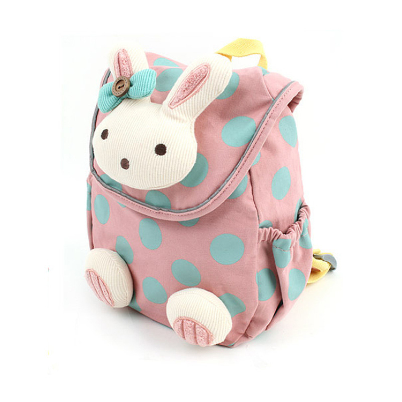 100pcs/lot NEW Anti-lost Baby Kids Cute 3d Rabbit Dot Backpack, Girls Child Schoolbags Kindergarten Toys Bag Snack Pack