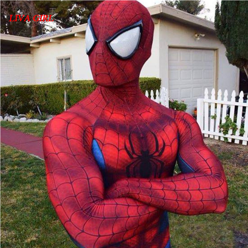 S-2XL Spiderman Costume 3D Shade Spandex Fullbody Halloween Cosplay Spider-man Superhero Costume For Adult 2017