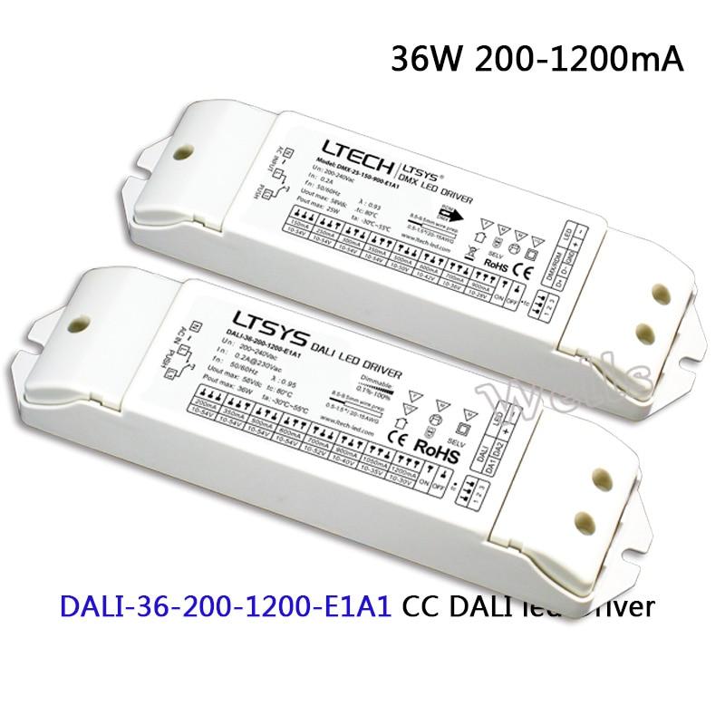 LTECH CC DALI led Dimming Driver;DALI-36-200-1200-E1A1;AC200-240V input; 36W 200-1200mA DALI (IEC62386)  led Driver Push DIM dali 16 1 16б