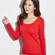 Fashion brand Thermal Tops Women Velvet Body Repair Low Collar Long Sleeved Top For Winter Clothes Hot Ladies