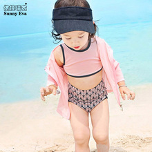 sunny eva girls two pieces swimsuit outer long sleeve jackets Swimsuit girls two pieces tankini bathing suits high waist bikini