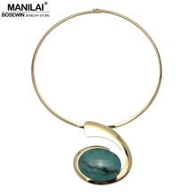 MANILAI Big Oval Resin Pendant Metal Torques Choker Necklace Women Alloy Geometric Statement Necklaces 2018 Fashion Jewelry