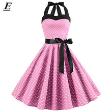 Baru 2019 Pink Midi Gaun Polka Dot Retro Hepburn Vintage 50 S 60 S Halter Pesta Pin Up Rockabilly Ialah gamis Plus Ukuran Pesta Vestidos(China)