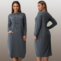 Plus Size Xxxl Casual Women Autumn Dress 2016 Solid Knee Length Bandage Women Long Sleeve Loose