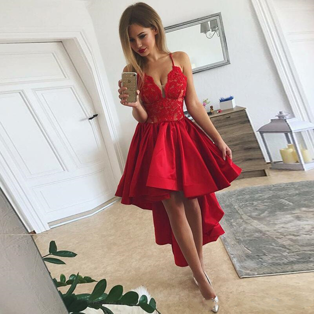 Red High Low   Cocktail     Dresses   2019 Sexy Spaghetti Lace And Satin Evening Gowns Ruffles Cheap Prom Party   Dress