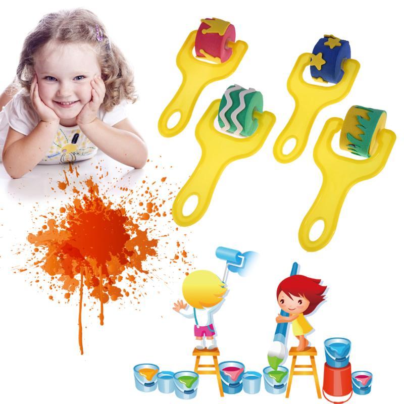 4Pcs Creative set for kids yellow sponge brushes children kids painting graffiti toys plastic handle drawing brush drawing toys