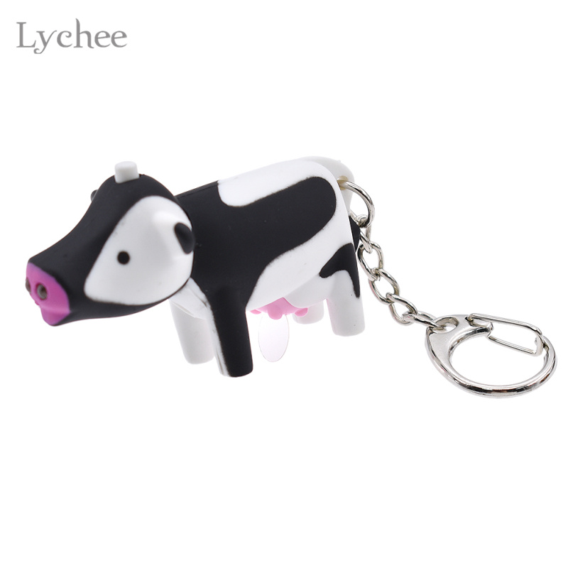 Lychee Cute Animal Cow LED Sound Light Key Chain Key Ring Bag Hanging Pendant Jewelry for Men Women