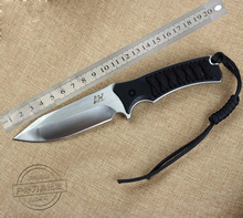 LW D2 Brush Finish Fixed Blade Knife Handle Binding Rope Hunting Knife Full Tang Survival knives