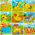 Educational toys wooden animal jigsaw puzzle intellectual development of nine small jigsaw puzzle cartoon  Animals Pattern toys