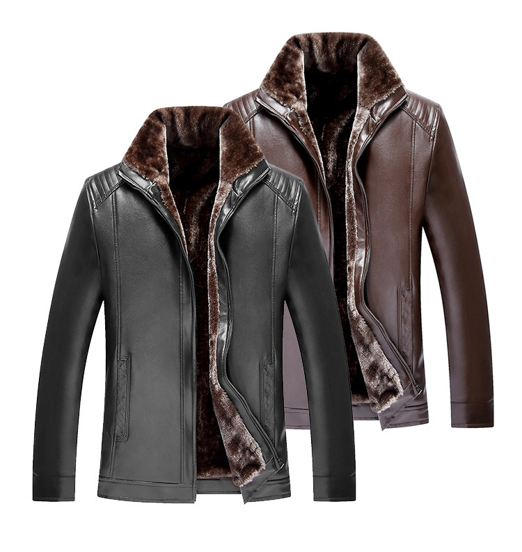 New Mens Winter Fleece Lined Leather Jacekt Casual Thick Thermal Faux Leather Jackets An ...