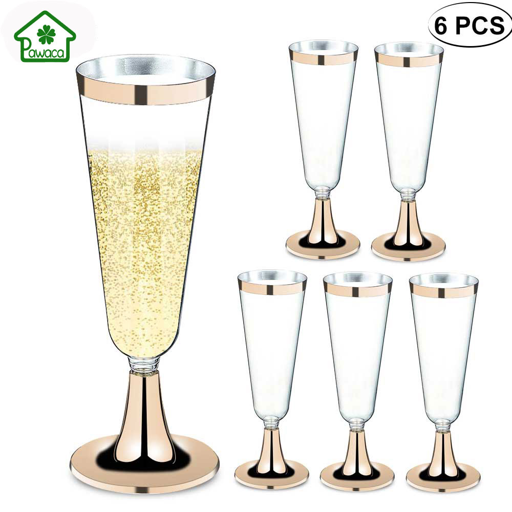2889c0233a0 Detail Feedback Questions about 6pcs Disposable Plastic Red Wine Glasses  Champagne Flute Cocktail Glass Party Drink Tumblers Safety Fashion Western  Cuisine ...