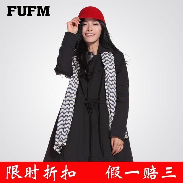 Fufm 2013 winter women's lacing slim trench black outerwear female overcoat