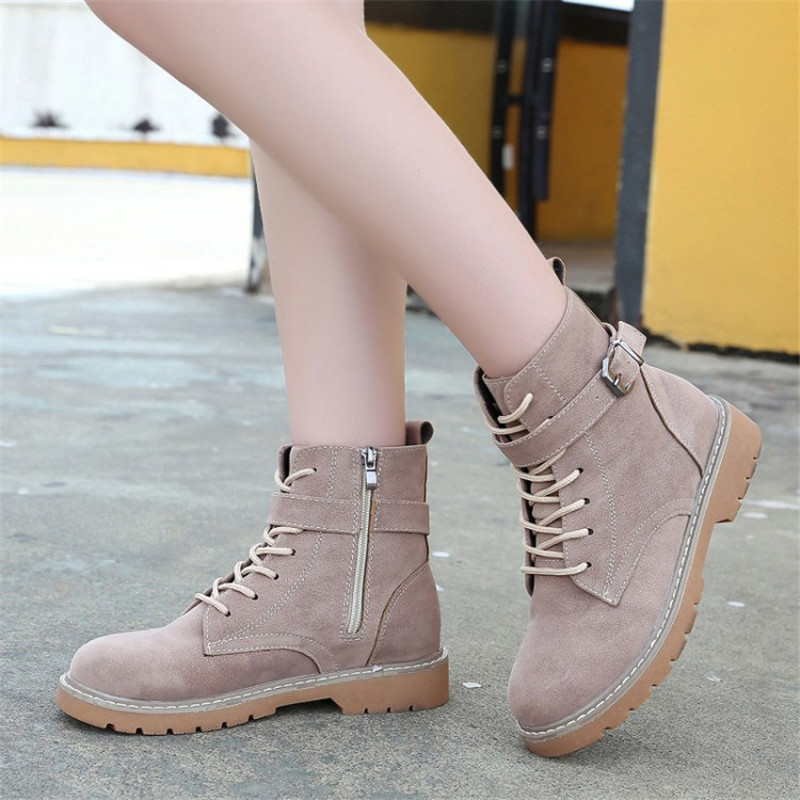 COOTELILI Ankle-Boots Lace-Up Casual-Shoes Faux-Suede Zipper Autumn Botas Women Buckle