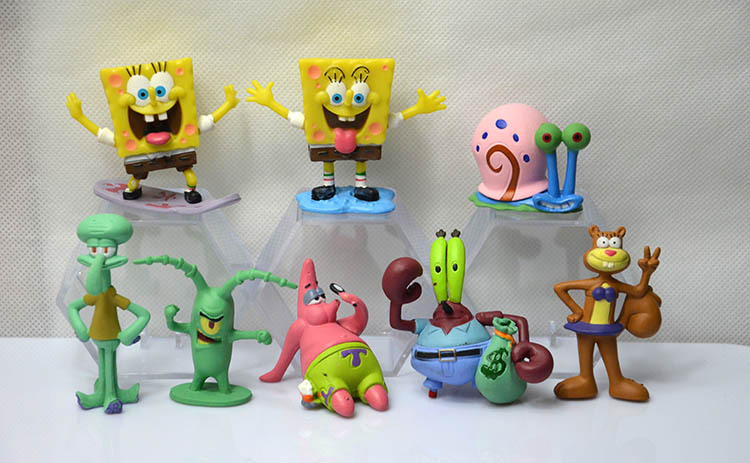 SpongeBob Patrick Star 8pcs/Set Dolls Western Animiation Cartoon Movie Peripherals Children Kids Toys Free Shipping цена и фото