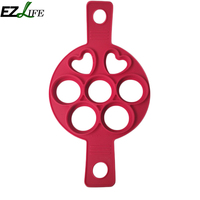 7 Holes Red Pancake Mold Maker Silicone Baking Tools For Cakes Safe Egg Pancake Maker Mold Kitchen Baking Accessories