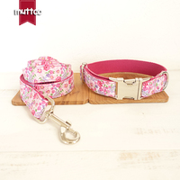 100pcs Lot MUTTCO Retailing Particular Colorful Dog Collar THE PINK FLOWER Unique Style Print Dog Collars