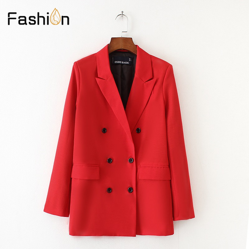 Women Red Suit Jacket Formal Blazer 2018 Double Breasted Pocket Women Blazer Work Office Business Suit Outwear