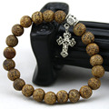 Católica pulseras 8mm La corteza de ágata Natural Pulsera de piedra Cruz Colgante pulseras mujeres y hombres