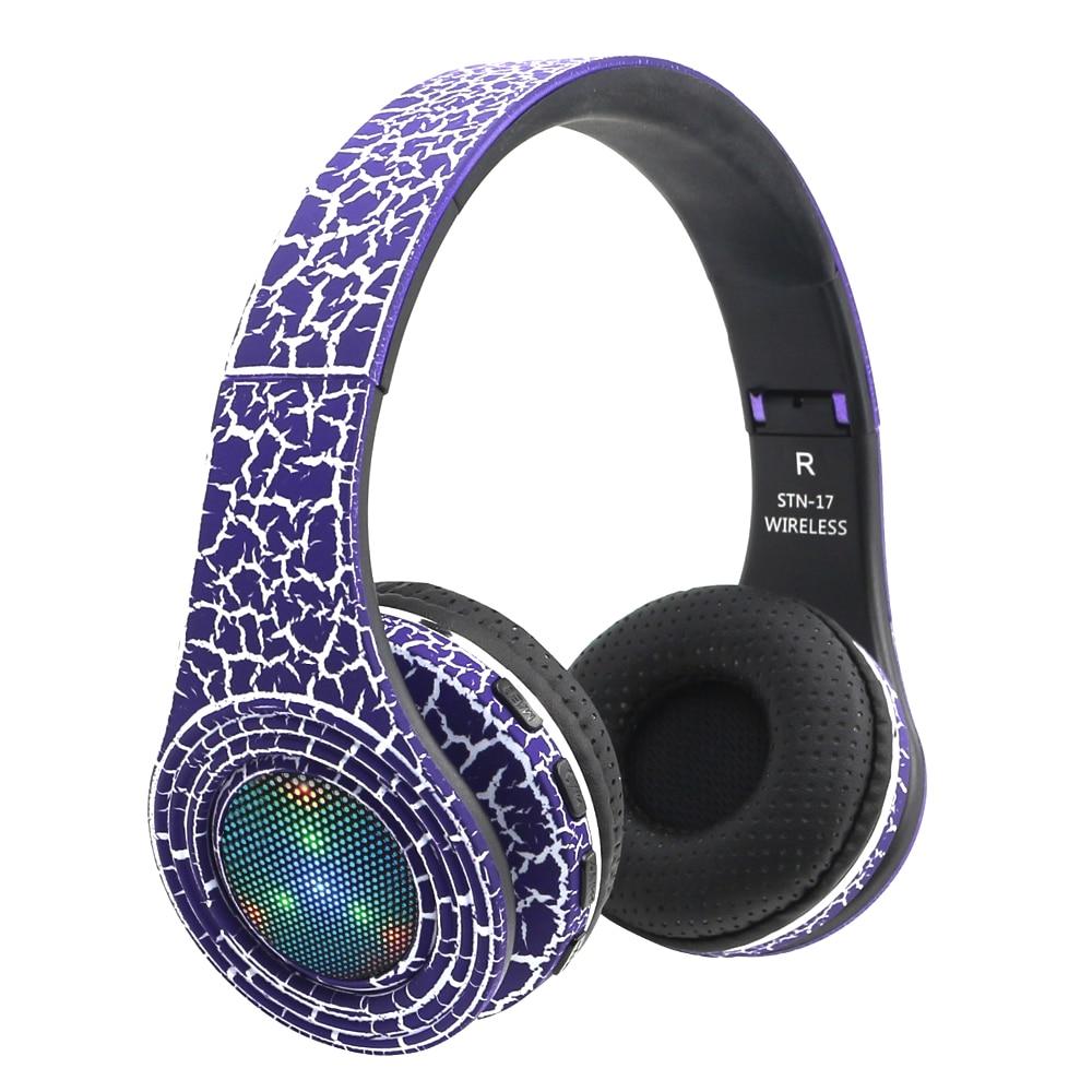 bilder für Original Wireless Stereo Bluetooth Headset HiFi Kopfhörer Faltbare LED Leucht Kopfhörer mit Mic Micro SD/TF Fm Radio