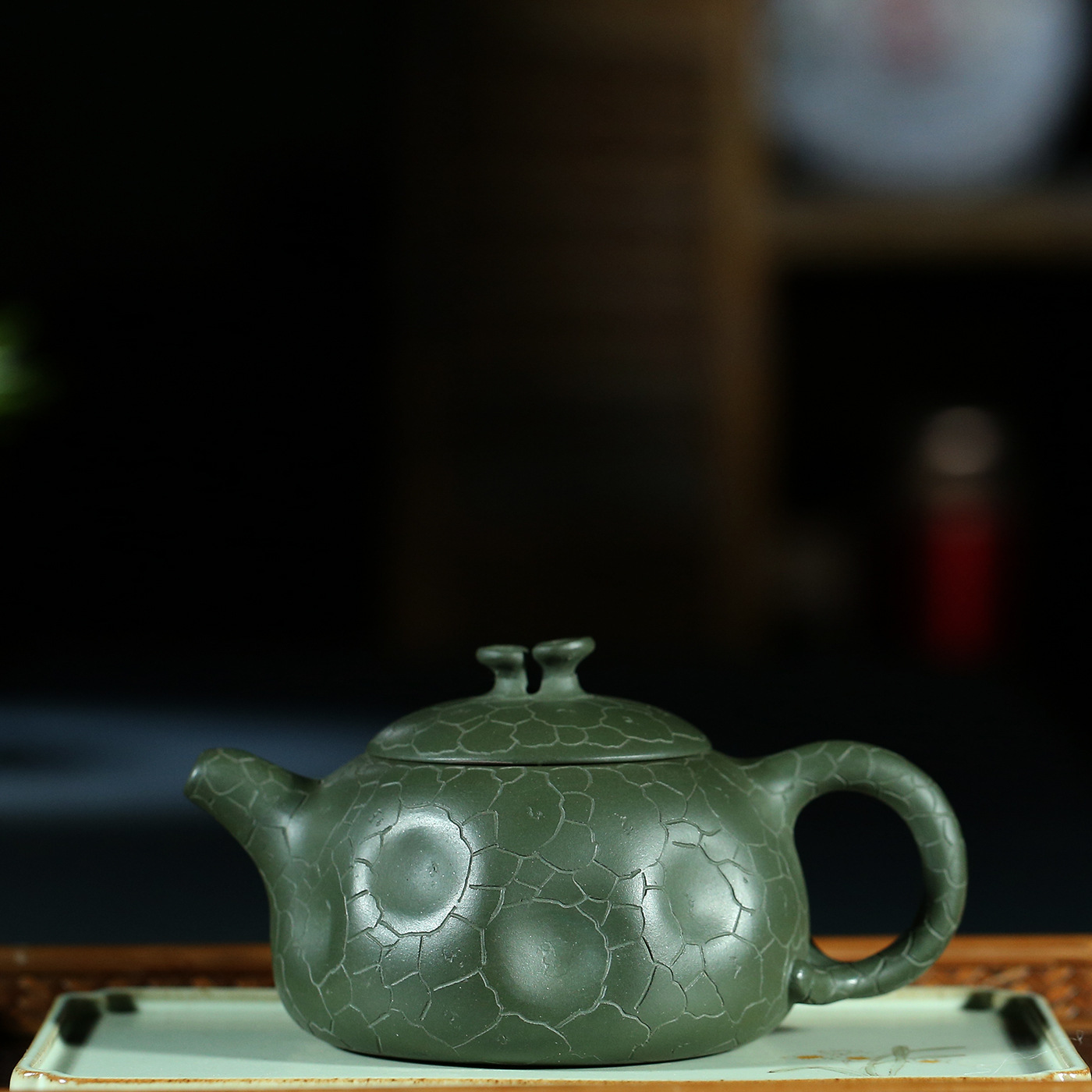 Yixing Teapot Quality Goods Famous Full Manual Raw Ore Green Mud Ganoderma Lucidum For Spring Pot Kungfu Online Teapot Tea SetYixing Teapot Quality Goods Famous Full Manual Raw Ore Green Mud Ganoderma Lucidum For Spring Pot Kungfu Online Teapot Tea Set