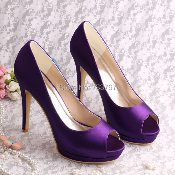 Wedopus Sexy PurpleSatin Lady Dress Fashion Shoes Heels with Platform for Wedding Bridal Party