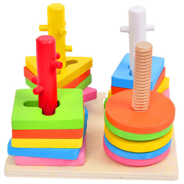 1pc baby wooden 4 Set column colorful wood Kids Children early learning educational toys Geometry assemble blocks Free shipping