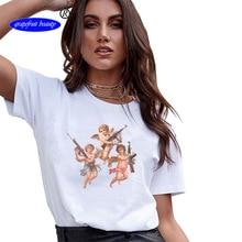 90s Girls Summer Top TeeFun Illustration Series Basic Vogue T Shirt Femme Casual T-shirt Funny Graphic Harajuku gothic Tees