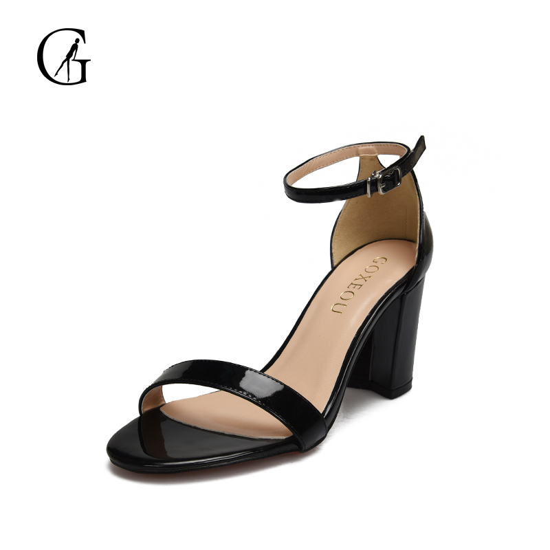 GOXEOU 2018 New Women Sandals Square Heel High Heels Sexy Summer Lace-up Party Square Toe Handmade Plus size Free Shipping summer 2017 sexy women black blue cross lace up open toe zip back stiletto heels high heel party sandals shoes lady