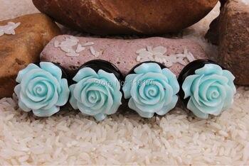 New Product Light Blue Fashion Rose Flower Acrylic Double Flared Ear Plug Flesh Tunnel Ear Stretcher Expander Body Jewelry