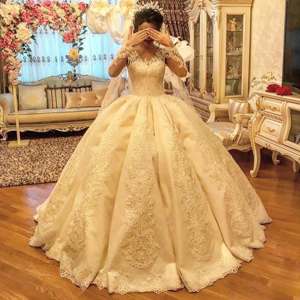 2019 Luxury Shinny lace satin Wedding Dress long Sleeve Lace beaded bridal Dress wedding gowns sweep
